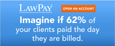 LawPay. Open an account. Imagine if 65% of your clients paid the day the are billed.
